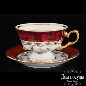 Набор чайных пар Царская Красная Охота Royal Czech Porcelain (6 пар)